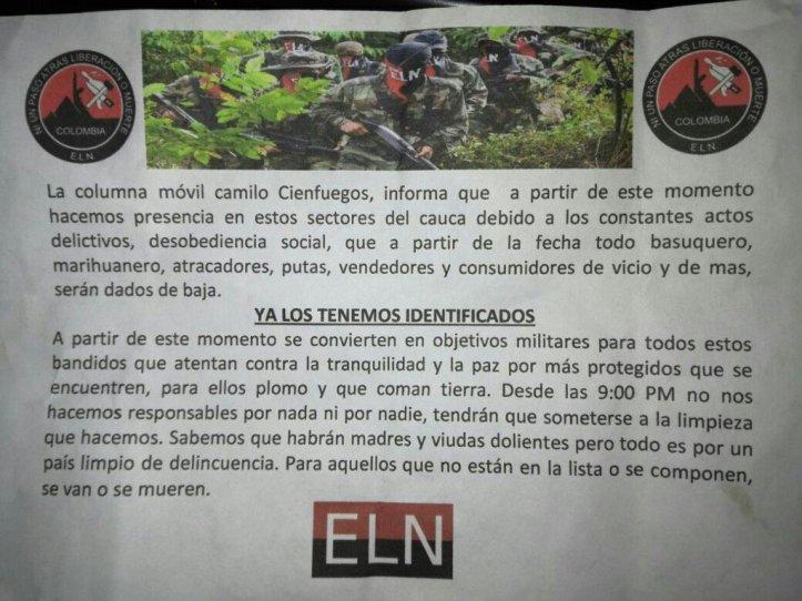 El ELN en el Cauca, municipio de Argelia