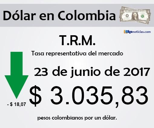 T.R.M. Colombia: pesos por 1 dólar, 23 de junio de 2017